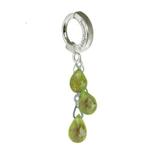TummyToys Platinum & Peridot Dangle Belly Ring | Solid Platinum with Gemstone Dangle - TummyToys