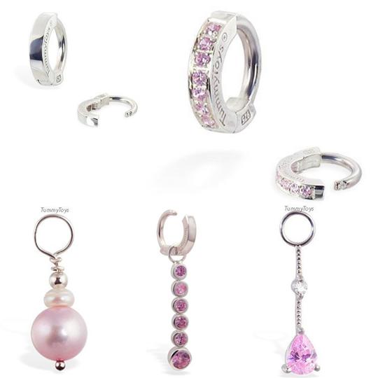 Pink Belly Ring Set | Sterling Silver & Pink CZ Discount Pack - TummyToys