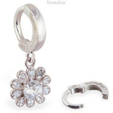 Silver Flower Belly Ring | .925 Sterling Silver with Clear CZ Gemstones - TummyToys