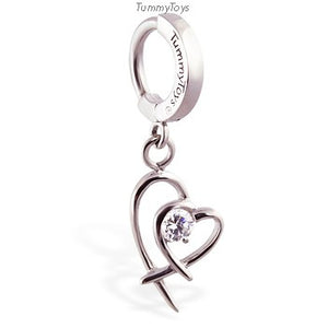 316L Surgical Steel Belly Button Ring with CZ Heart Charm - TummyToys