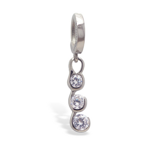 Tummytoys 316L Surgical Steel Belly Ring with CZ Dangle Charm - TummyToys