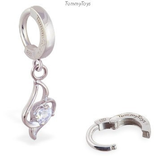 Surgical Steel Belly Ring with Clear CZ Dangle - TummyToys