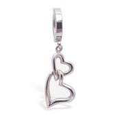 316L Surgical Steel Belly Ring with Double Heart Dangle Charm