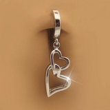 316L Surgical Steel Belly Ring with Double Heart Dangle Charm - TummyToys