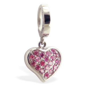 316L Steel Belly Button Ring with Pink & Red CZ Heart Dangle Charm - TummyToys