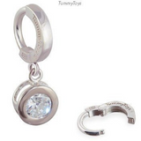 TummyToys Silver Bezel Set Round CZ Belly Ring - TummyToys