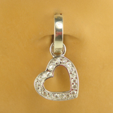 Pave Cz Heart Swinger Charm On Plain Sterling Silver Belly Ring - TummyToys