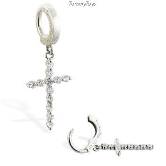 Sterling Silver & Diamond CZ Cross Belly Ring - TummyToys