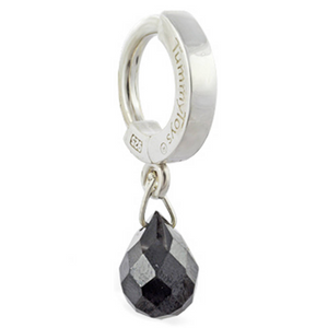 Silver and Black Belly Button Ring | Dangling Black Tear Drop Stone Charm - TummyToys