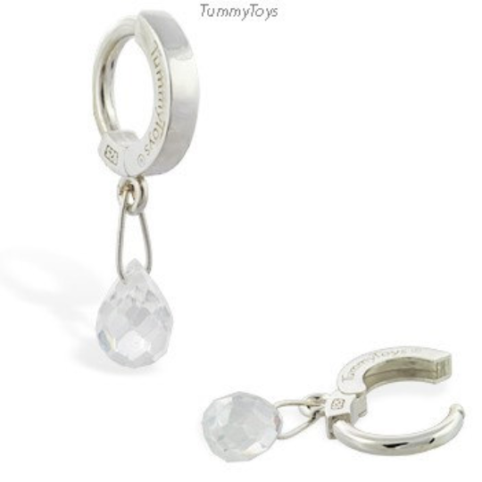 Clear CZ Belly Ring with Gemstone Dangle - TummyToys