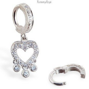 Heart Crystal Charm With Bezel Drops On Pave Sterling Silver Clasp By Tummytoys - TummyToys