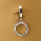 Tummytoys Silver Diamond CZ Belly Ring | Round CZ Dangle - TummyToys