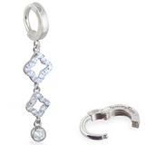 TummyToys Silver & Diamond CZ Dangle | Sterling Silver Clasp - TummyToys