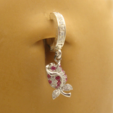 Pink Rose Belly Ring | Solid Sterling Silver and Pink CZ Stones - TummyToys