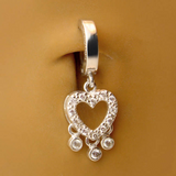 TummyToys Silver and CZ Heart Dangle Belly Button Ring - TummyToys
