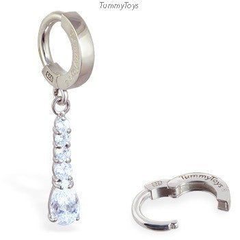 TummyToys Silver Diamond CZ Pendant Belly Ring - TummyToys
