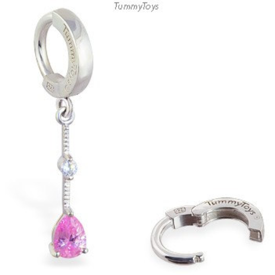 TummyToys Pear Shaped Pink CZ Belly Ring | Solid Silver Clasp - TummyToys