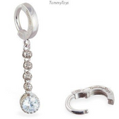 TummyToys Silver CZ Dangle Belly Ring