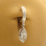 Sterling Silver Navel Ring with Marquise CZ Dangle - TummyToys