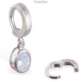 TummyToys Silver Oval Diamond CZ Belly Ring