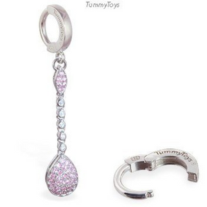 TummyToys Silver Pear Shaped Pink CZ Belly Ring Dangle - TummyToys