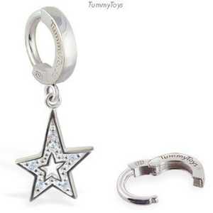 TummyToys Silver Diamond CZ Star Belly Ring - TummyToys