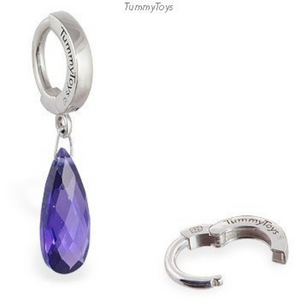 Dangling Purple CZ Belly Ring | Sterling Silver Clasp - TummyToys