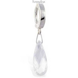 Clear Crystal Belly Ring Dangle on Solid Silver Clasp - TummyToys