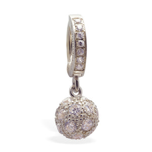 Tummytoys Silver Pave CZ Disco Ball Belly Ring On Pave Clasp - TummyToys