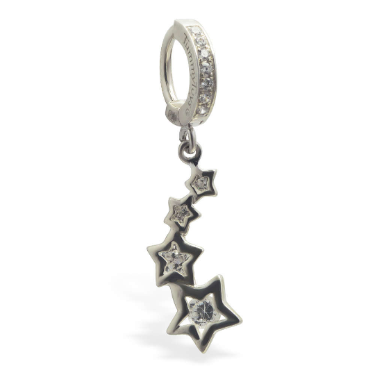 Clear Cz Gem Shooting Stars Sterling Silver Belly Ring By Tummytoys - TummyToys