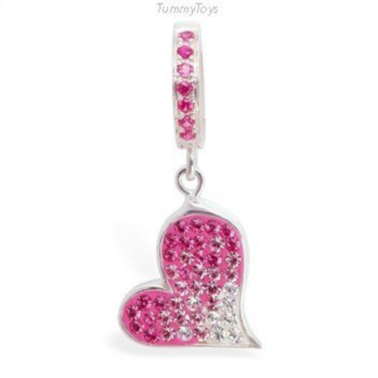Pink Crystal Heart Belly Ring | Hot Pink Clasp - TummyToys
