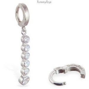 Tummytoys Silver Belly Ring with Long CZ Journey Dangle Charm - TummyToys