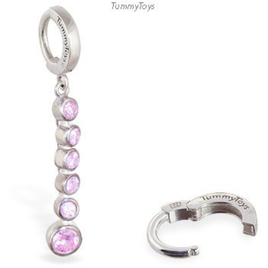 Silver Belly Ring with Long Pink CZ Dangle Charm - TummyToys