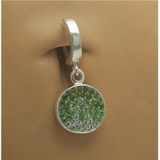 Green Swarovski Crystal Circle Dangle Belly Button Ring - TummyToys