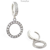 Circle Of Life Round Drop Charm on Pave Set Clasp