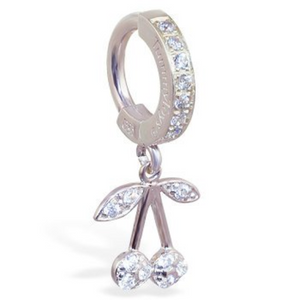 TummyToys Silver CZ Cherry Belly Ring - TummyToys