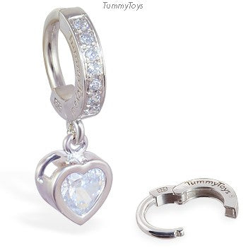 Sterling Silver Belly Ring with CZ Heart Dangle | Stunning and Sexy