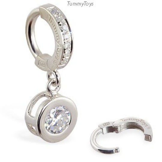 TummyToys Silver Sparkling Round CZ Belly Ring - TummyToys