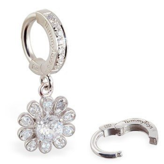 TummyToys Silver and CZ Flower Belly Button Ring - TummyToys
