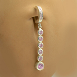 Sexy And Long Pink CZ Dangle Charm On Pink CZ Belly Ring - TummyToys