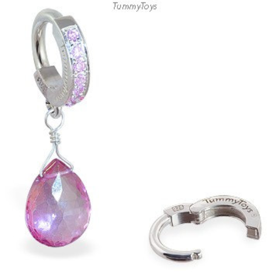 Pink Belly Ring with Topaz Briolette on Pink CZ and Silver Clasp - TummyToys