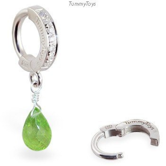 CZ Belly Ring with Green Peridot Briolette | Peridot Navel Ring - TummyToys