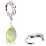 Lemon Quartz Briolette On CZ Pave Belly Ring | Quartz Body Jewelry - TummyToys
