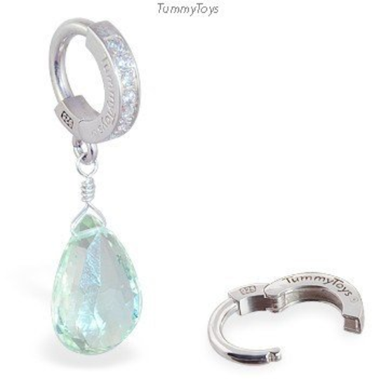 Green Amethyst On Tummytoys CZ Pave Belly Ring - TummyToys