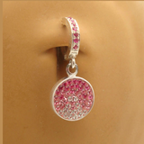 Light Pink Crystal Belly Ring Dangle | Circle Charm & Light Pink Clasp - TummyToys