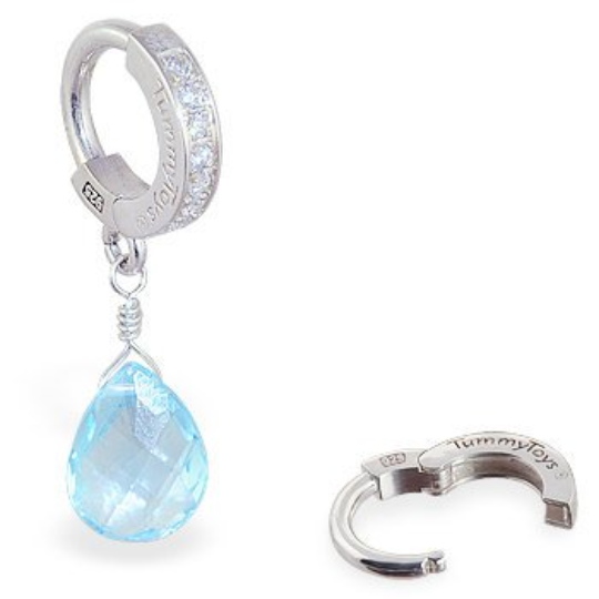 Blue Topaz On Tummytoys CZ Pave Belly Button Ring - TummyToys