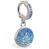 Silver and Blue Belly Ring with Dangling Blue Crystal Circle Charm