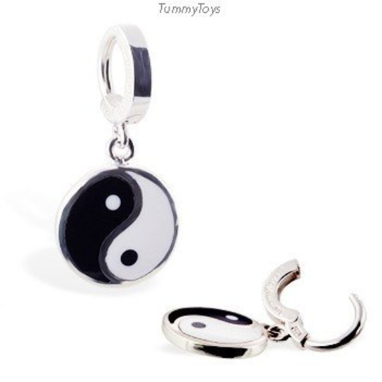 Yin & Yang Dangle Charm on Plain Sterling Silver Belly Ring - TummyToys