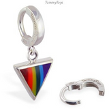 Gay Pride Belly Ring | Solid Silver Clasp with Rainbow Dangle Charm - TummyToys