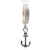TummyToys Anchor Belly Ring on Silver and CZ Clasp - TummyToys